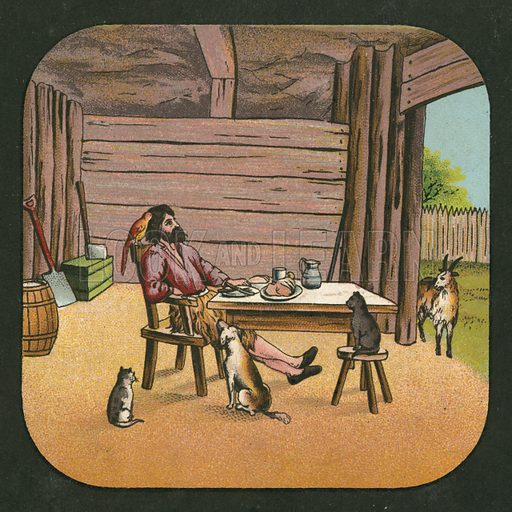 One of a set of paper lantern slides about Robinson Crusoe, c 1910.