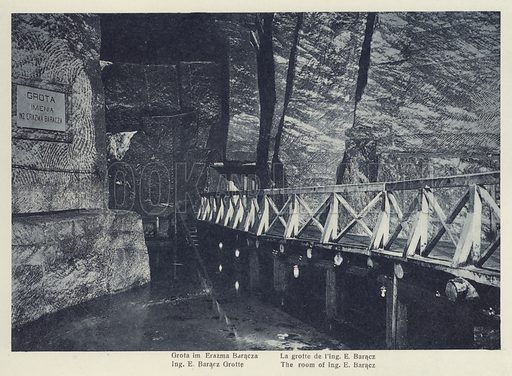 One of a set of postcards about the Wieliczka Salt Mine, in the town of Wieliczka, southern Poland, c 1910.