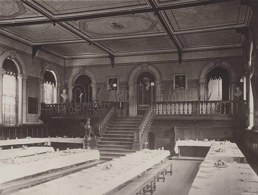 Refectory, from East End. Illustration for A Series of Views of St Edmund's College, Old Hall, Ware (Edmundian Association, 1895). Gravure printed.