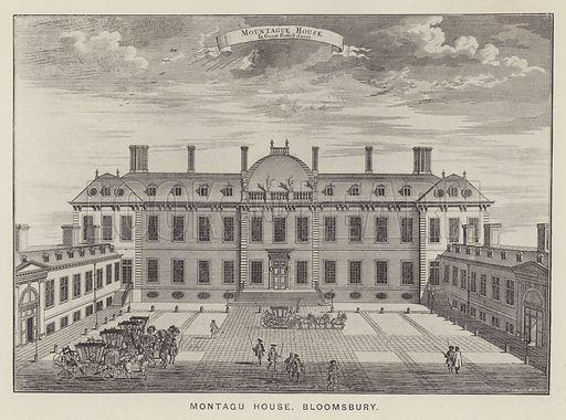 Montagu House, Bloomsbury. From a print by Sutton Nicholls. Illustration for The Private Palaces of London Past and Present by E Beresford Chancellor (Kegan Paul, Trench, Trubner, 1908).