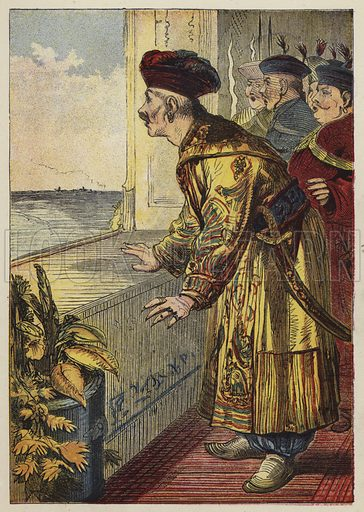 Aladdin And The Wonderful Lamp. Illustration for a picture book published by George Routledge, c 1885.