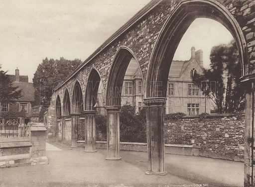 The Infirmary Arches. Illustration for a booklet of views of Gloucester, c 1895.
