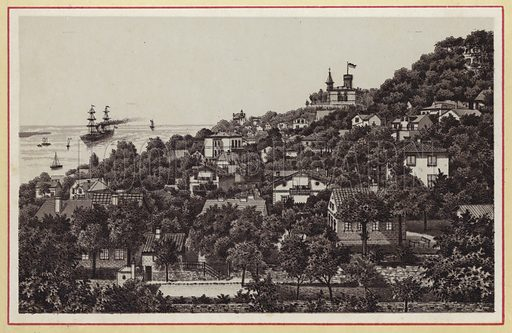 Blankenese. Illustration for a book of views of Hamburg, late 19th century. Based on contemporary photographs.