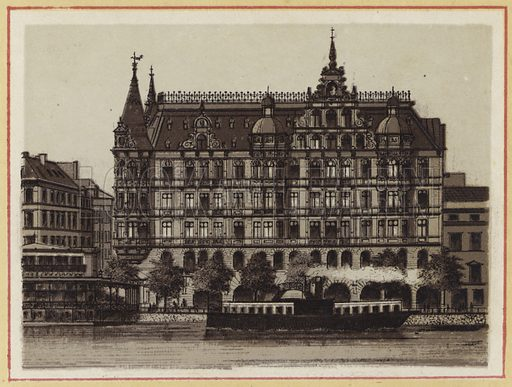 Hamburger Hof. Illustration for a book of views of Hamburg, late 19th century. Based on contemporary photographs.