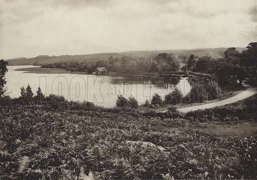 Frensham Pond. Illustration for a booklet entitled Picturesque Hindhead (np, c 1914). Hindhead is a village in Surrey, England, known for being the highest village in the county.