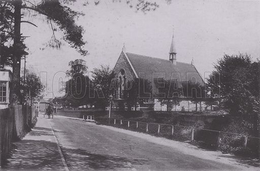 All Saints Church. Illustration for a booklet of views of Leatherhead (J Wells, c 1895). Leatherhead is a town in Surrey, England on the bank of the River Mole.