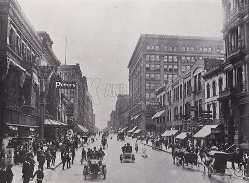Nicolett Avenue. Illustration for Minneapolis, Metropolis of the Great North West (c 1910). Many of the photos appear to be late 19th century.