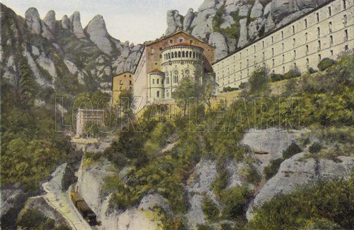 Absis de la Basilica i turons de Santa Magdalena; Abside de la Basilica y picos de Santa Magdalena. Illustration for Montserrat (Bas D'Igualada, Estamper, c 1910).