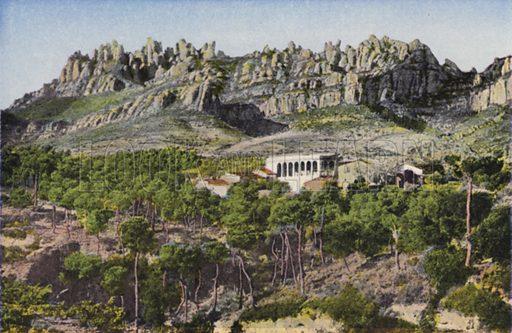 La muntanya des del Bruch; La montana desde el Bruch. Illustration for Montserrat (Bas D'Igualada, Estamper, c 1910).