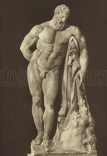 Ercole Farnese, Sculpture in the greek style. Ercole Farnese, Scultura di stile greco. Illustration for a booklet, Ricordo Napoli Sculture (np, c 1900), containing photos of sculptures and other artifacts in the Museo Nazionale, Napoli.