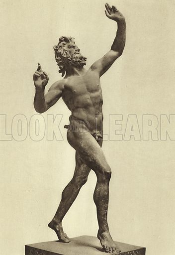 Dancing Faun, Ancient bronze. Fauno danzante, Bronzo antico. Illustration for a booklet, Ricordo Napoli Sculture (np, c 1900), containing photos of sculptures and other artifacts in the Museo Nazionale, Napoli.