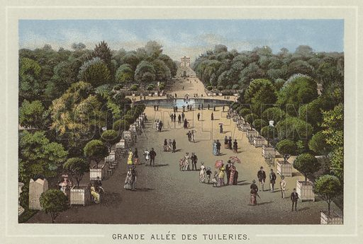 Grande Allee Des Tuileries. Illustration for Souvenir de Paris (np, c 1895). Unusual for being in colour.