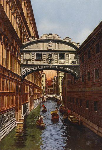 Ponte dei Sospiri. Illustration for Ricordo di Venezia (Cesare Capello, c 1910).