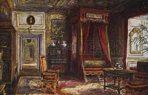 Queen Anne's Bedroom. Illustration for Warwick Castle from Original Water Colour Paintings by W W Quatremain (J Salmon, c 1925).
