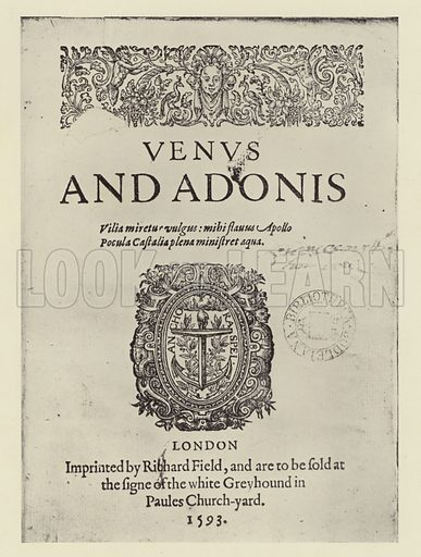Venus and Adonis, 1593.  A Bodleian Treasure, the only known copy of the first edition of Shakespeare's first published work.  Illustration for Oxford, Special Number, February 1937.