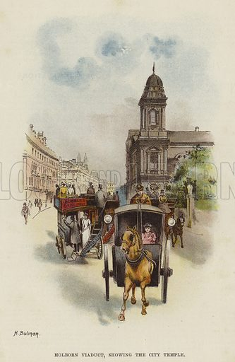 Holborn Viaduct and the City Temple, London. Illustration from Bubbles, edited by Dr Barnardo (The Children's Bookroom, London, c1895).