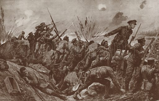 2nd Lieutenant Geoffrey Woolley winning the Victoria Cross, the first Territorial Army officer to receive the award, at the Battle of Hill 60, Ypres, Belgium, World War I, 1915. Illustration from The War Illustrated Album de Luxe (The Amalgamated Press Limited, London, 1915).