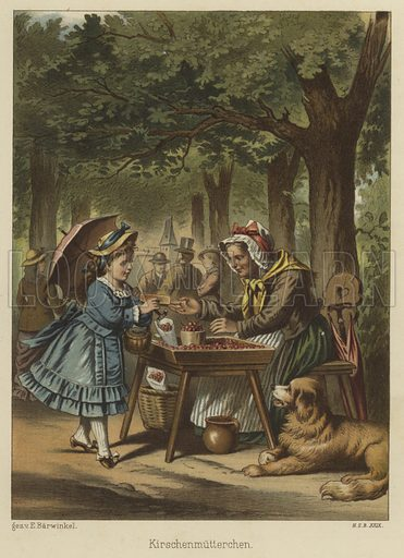 Girl buying cherries from a woman