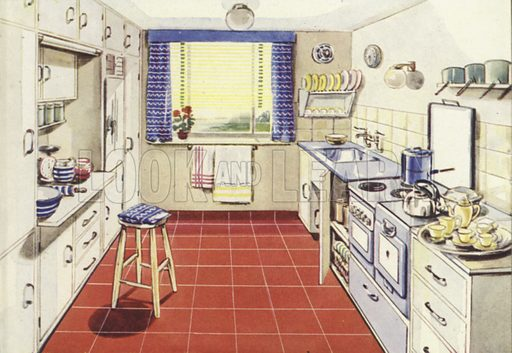 Kitchen with electric horizontal cooker