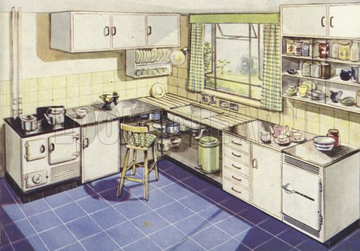 Kitchen with solid fuel stove