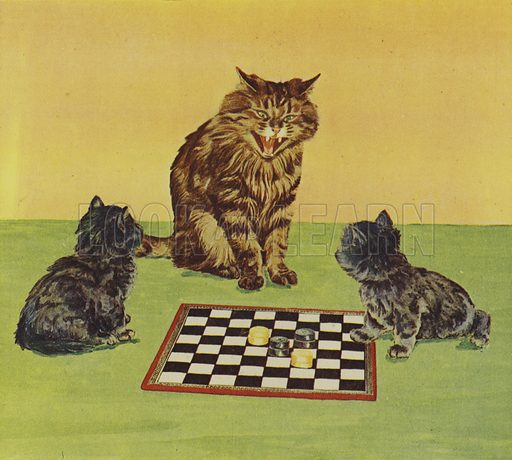 Kittens playing draughts