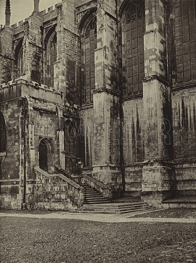 The original Fives Court formed by the bay and platform at the bottom of the steps leading to the North door of College Chapel. Illustration for Eton Medley by B J W Hill (Winchester Publications, 1948).    All photos by A W Kerr.