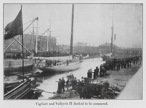 """Vigilant and Valkyrie II docked to be measured. Illustration for The """"America's"""" Cup Races by Herbert L Stone (T Werner Laurie, c 1905)."""