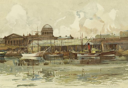 Part of Salthouse Dock, with Custom House. Illustration for Pictures of Liverpool from Original Water Colour Drawings by John Glynn (Gilbert G Walmsley, 1911).
