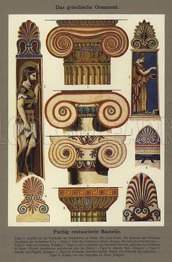 Das griechische Ornament, Farbig restaurierte Bauteile