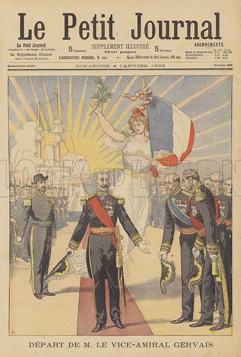 The retirement of Vice-Admiral Gervais. Depart de M le Vice-Amiral Gervais. Illustration for Le Petit Journal, 4 January 1903.