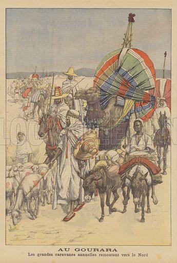 Caravan at the oasis of Gourara, Algeria. Au Gourara. Les grandes caravanes annuelles remontent vers le Nord. Illustration for Le Petit Journal, 8 March 1903.