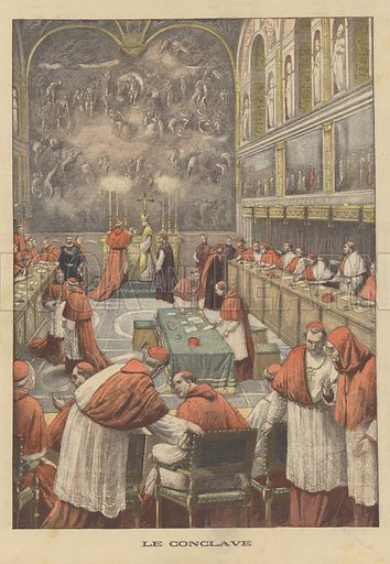 Papal conclave to elect a successor to Pope Leo XIII. Le conclave. Illustration for Le Petit Journal, 9 August 1903.