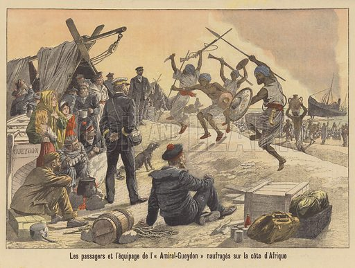 The passengers and crew of the Amiral-Gueydon shipwrecked on the coast of Somalia. Les passagers et l'equipage de l'Amiral-Gueydon naufrages sur la cote d'Afrique. Illustration for Le Petit Journal, 11 October 1903.