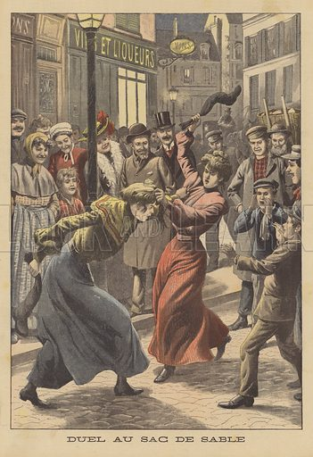 Two women fighting with stockings filled with sand. Duel au sac de sable. Illustration for Le Petit Journal, 1 November 1903.