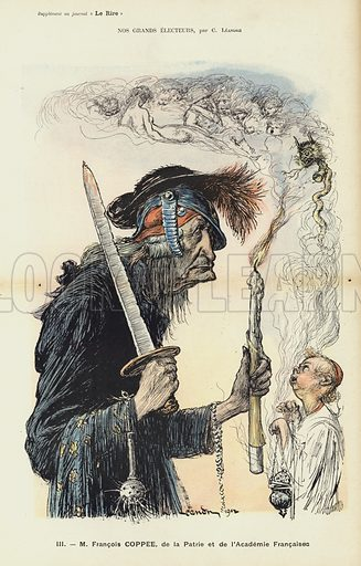 Francois Coppee, French writer and nationalist, illustration for Le Rire