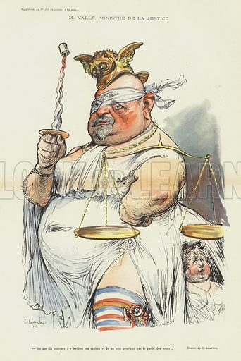 Ernest Valle, French Minister of Justice, illustration for Le Rire
