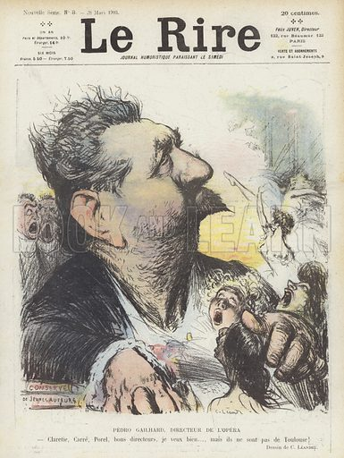Pedro Gailhard, Director of the Paris Opera. Illustration for Le Rire.