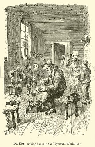 Dr Kitto making Shoes in the Plymouth Workhouse. Illustration for Famous Boys and How They Became Great Men (Ward Lock, c 1880).