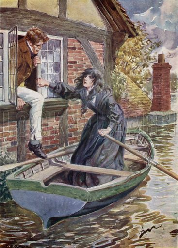 Maggie Tulliver rescues Tom at the Mill. Illustration for Days with the Great Novelists (Hodder and Stoughton, c 1910).
