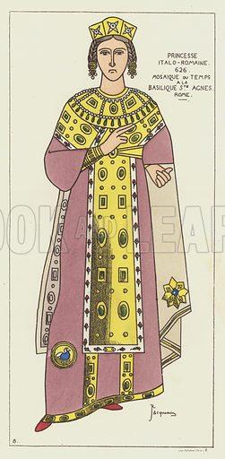 Princesse italo-romaine. Illustration for Histoire Generale Du Costume by R Jacquemin (Charles Delagrave, 1879).