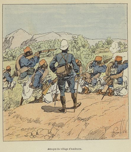 Attaque du village d'Andratra. Illustration for La Guerre a Madagascar by H Galli with illustrations by L Bombled (Garnier, 1897).