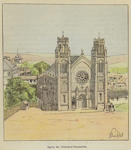 Eglise des Jesuites a Tananarive. Illustration for La Guerre a Madagascar by H Galli with illustrations by L Bombled (Garnier, 1897).
