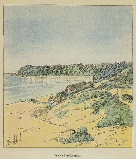 Vue de Fort-Dauphin. Illustration for La Guerre a Madagascar by H Galli with illustrations by L Bombled (Garnier, 1897).