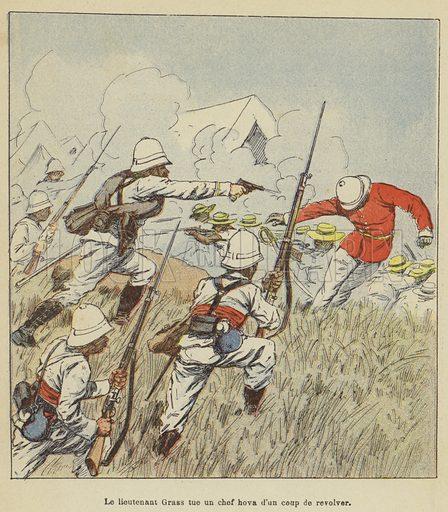 Le lieutenant Grass tue un chef hova d'un coup de revolver. Illustration for La Guerre a Madagascar by H Galli with illustrations by L Bombled (Garnier, 1897).