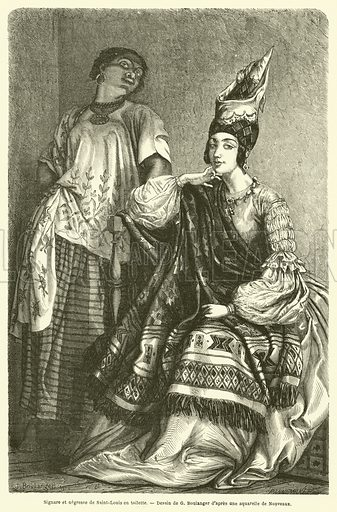 Signare et negresse de Saint-Louis en toilette. Illustration for Le Tour Du Monde (Hachette, 1861).