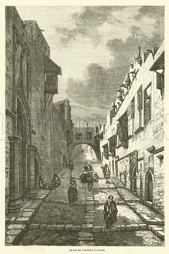 La rue des Chevaliers, a Rhodes. Illustration for Le Tour Du Monde (Hachette, 1862).