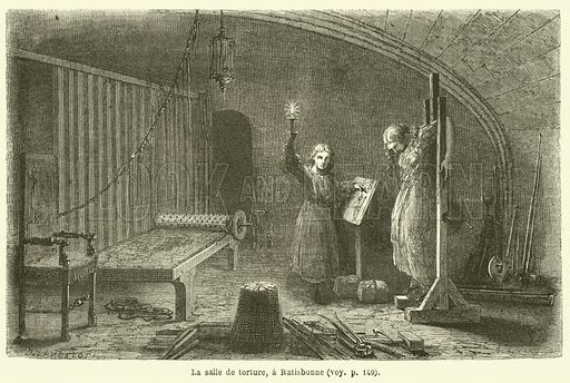 La salle de torture, a Ratisbonne. Illustration for Le Tour Du Monde (Hachette, 1863).