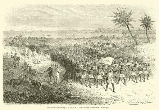 Depart des capitaines Speke et Grant et de leur caravane. Illustration for Le Tour Du Monde (Hachette, 1864).