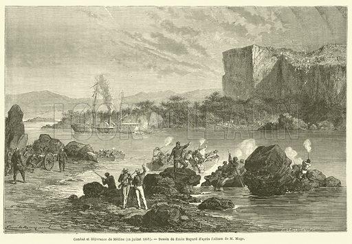 Combat et delivrance de Medine, 18 juillet 1857. Illustration for Le Tour Du Monde (Hachette, 1868).