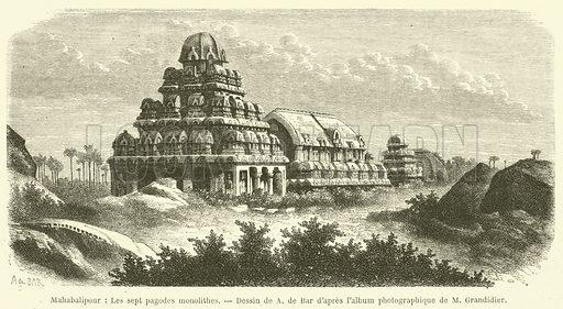 Mahabalipour, Les sept pagodes monolithes. Illustration for Le Tour Du Monde (Hachette, 1869).